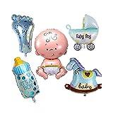 Calistouk Cinco globos cumpleaños decorativos aluminio para fiestas de bebés niño, Azul