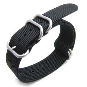 NATO strap Zulu Bracelet OTAN en nylon résistant 5 boucles brossées Noir 20mm