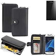 2in1: lenovo K900 Funda y monedero de teléfono móvil carpeta protectora de alta calidad, bolso / bolsa elegante, Negro - K-S-Trade