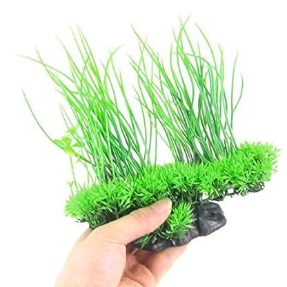 Rocita – Plantas Artificiales de Seda para Acuario, decoración Decorativa, Hierba para pecera (Verde) 1 Pieza