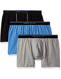 Medium, Blue/Grey/Black : Perry Ellis Men's Portfolio 3 Pack Cotton Stretch Dual Tip Solid Boxer Briefs