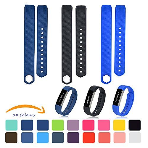 3pcs Fitbit Alta Armbänder [mit kostenlosen HD Schutzfolien], iFeeker Klein Size Bunte Weiche Silikon Ersatz Sport Uhrenarmbänder Armband Strap für Fitbit Alta mit kostenlosen Sichere Fastener Ringe (Marine-Blau + Schwarz + Flagge blau) (Rose Marine-ring)