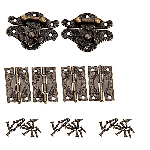 2 pcs antiguo repujado hasp latch lock muebles decorativo armario joyero Latch Lock con 4pcs Mini Bisagra y 28pcs tornillos