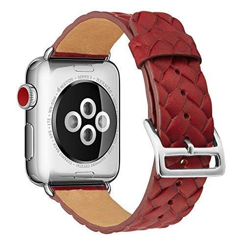 X-Cool Für Apple Watch Armband 42mm 44mm Rot Leder Echtleder mit Metallschließe Armbänder für iwatch Series 4 3 2 1 -