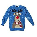 Kinder Mädchen Jungen Weihnachts-Pullover Retro Winter-Pullover Gr. 3-4 Jahre, RUDOLPH POM POM:...