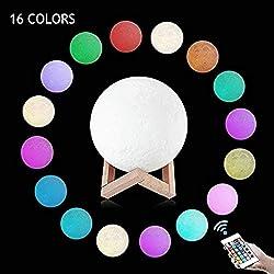 Lámpara de Luna en 3D, 2019 nuevo diseño (Moldura de una pieza)20CM 16 Colores USB Cambio de 3D Lámpara de Control de Luz de Luna con Soporte de Madera para Dormitorio, Regalo de Fiesta