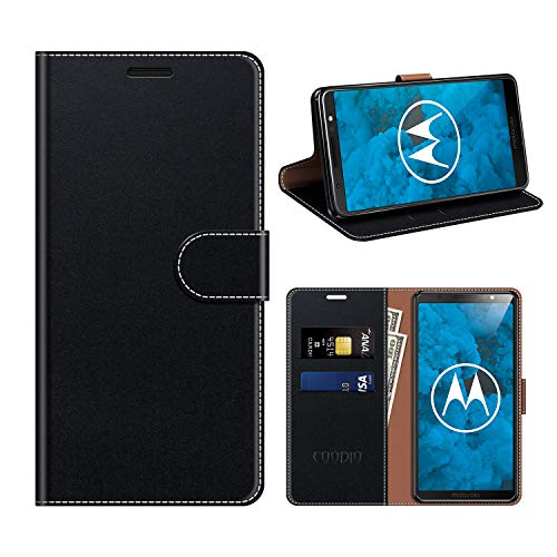 coodio Motorola Moto G6 Plus Hülle Leder, Moto G6 Plus Kapphülle Tasche Leder Flip Cover Schutzhülle Rugged für Motorola Moto G6 Plus Handyhülle, Schwarz