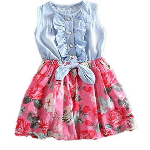 BEAUTOP Sommer Jean Floral bedruckt Chiffon Kleid Baby Mädchen Denim Bowkont Kleider Kinder Hochzeit Geburtstag Party Prinzessin Kleid (Denim Floral Jeans)