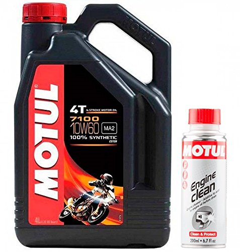 Motul Duo Olio Moto 7100 4T 10W-60, 4 Litri + Engine Clean 200m