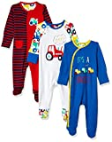 #4: Mothercare Baby Boys' Regular Fit Cotton Sleepsuit (Pack of 3) (MC213-1_Multicoloured_0-3 Months)