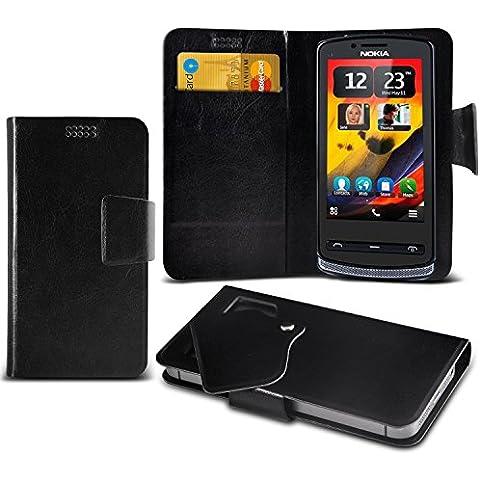 (Black) Nokia 700 Caso fino estupendo Faux Leather succión Pad Monedero piel de la cubierta con el crédito / débito ranuras para tarjetasBy