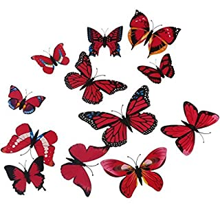 A-szcxtop 12 Pieces 3D Stereoscopic Butterfly Wall Stickers DIY Wall Decoration (Red)