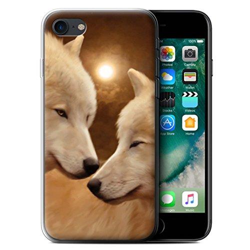 Officiel Elena Dudina Coque / Etui Gel TPU pour Apple iPhone 7 / Jacinthe Design / Les Animaux Collection Loups Blancs
