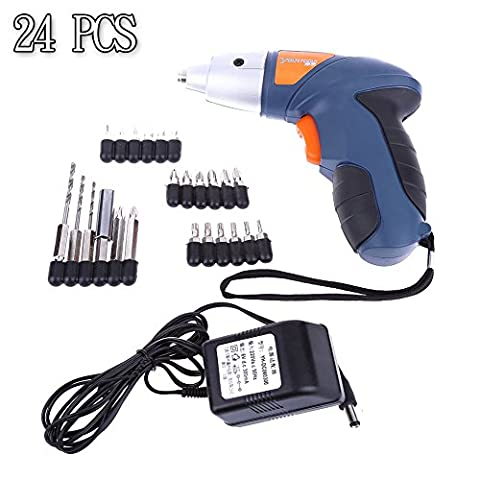 Candoran 24pc Cordless Reversible Rechargeable Drill Bit 4.8v Electric Screwdriver Power