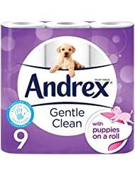 Andrex Gentle Clean Toilet Tissue, Puppies on a Roll - 9 Rolls
