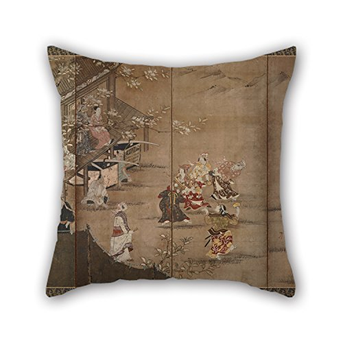 beautifulseason Throw Pillow Case of Oil Painting Kano Naganobu - Merrymaking Under The Cherry Blossoms,for Deck Chair,Kids Boys,Play Room,Adults,Bar,Son 16 X 16 Inches/40 by 40 cm(Each Side) (Wolf Girl Minecraft)