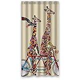 CHATAE größer und Kleine Giraffe Tragen Schal befreit Tandem Fahrrad Funning Duschvorhang 91,4x 182,9cm