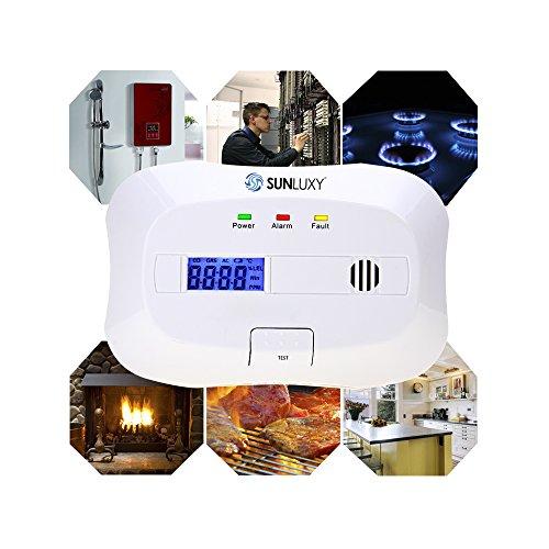 SUNLUXY CO Alarm CO Melder Kohlenmonoxid-Detektor & Feueralarm mit Optischer Sensor batteriebetrieben weiß - 4