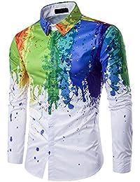 ISSHE Hemden Herren Button Down Hemd Stehkragen Trachtenhemd