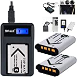 TOP-MAX® NP-BX1 Battery (2-Pack) + USB Charger for Sony Cyber-shot DSC-HX50V, DSC-HX300, DSC-RX1, DSC-RX1R, DSC-RX100, DSC-RX100 II, DSC-WX300, HDR-AS10, HDR-AS15, HDR-AS30V, HDR-MV1
