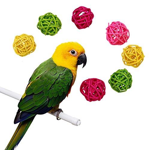 Demiawaking 10pcs Palla di Rattan Giocattolo da Masticare per pappagallo Decorazioni per Gabbia Uccelli per Pappagalli Cockatiel Parrocchetto