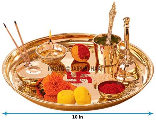 Jaipuri haat Hand Made Brass Puja Thali Set (410 Gram Weight, 10 inch Diameter)