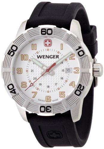 Wenger Roadster 01.0851.104 - Reloj analógico de cuarzo para hombre, correa de silicona color negro (agujas luminiscentes)
