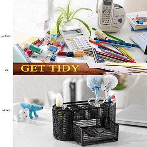 Vonimus Schreibtisch Tidy, Tisch-Organizer / Mesh Spezifische Caddy Schreibtisch Organizer Set Büro Tidy Organizer Metall Bleistift Topf Bleistift Halter (schwarz) - 3