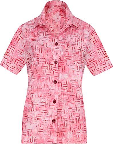 LA LEELA Frauen-Taste gedrückt kurzer Ärmel Hawaii Hemd Rosa_AA140 S - DE Größe :- 42-44