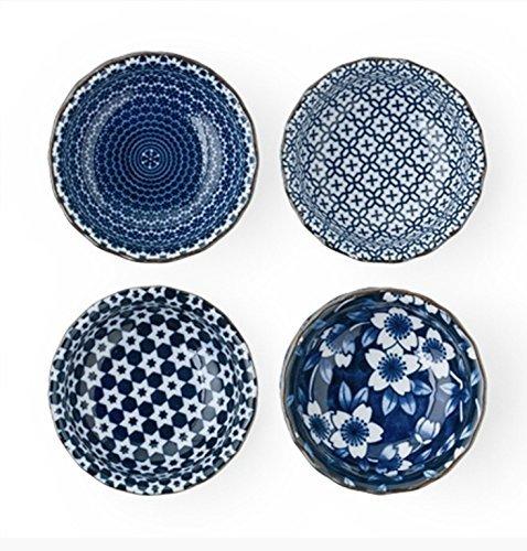 Blau und Weiß Sauce Dish Set 3,75in. Durchmesser - Sauce Dish Set