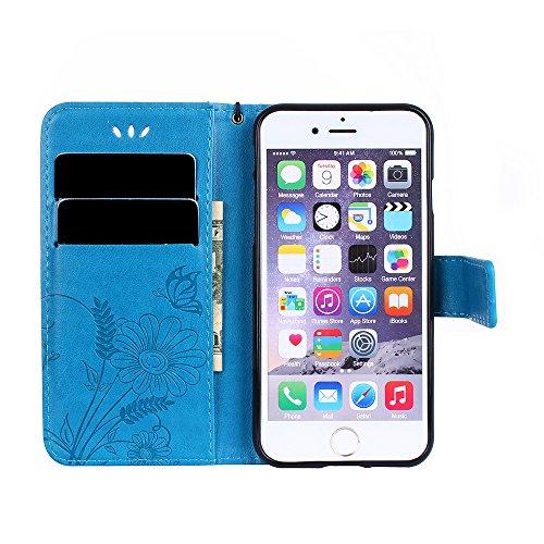 Coque iPhone 6 Plus / 6S Plus, Housse iPhone 6 Plus Cuir, SpiritSun Etui Coque pour iPhone 6 Plus / 6S Plus (5.5 pouces) Élégant Papillon et Fleur Motif Leather Housse Téléphone Stand Wallet Case Luxe Bleu