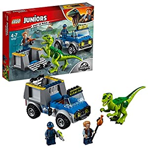 LEGO Juniors L'evasione del T. Rex, 10758 & Jurassic World Inseguimento sull'elicottero di Blue, 75928 LEGO Juniors LEGO