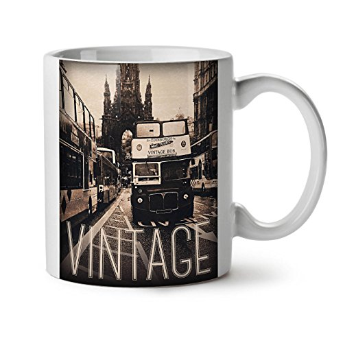 Wellcoda Old Vintage Bus Edinburgh travel weiß Tee Kaffee Keramik Becher 11OZ