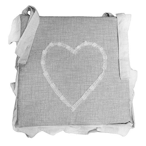 Russo tessuti 6 cuscini sedie cucina coprisedia imbottiti cuore ricamato laccetti vari colori-grigio