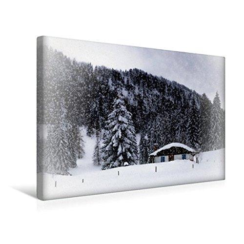 Calvendo Premium Textil-Leinwand 45 cm x 30 cm quer, Wintermärchen HEMMERSUPPENALM VIII (weiß) | Wandbild, Bild auf Keilrahmen, Fertigbild auf echter Leinwand. Almhütte im Schneegestöber Natur Natur