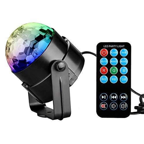 KINGSO Mini RGB LED Discokugel DJ Lichteffekt Stage BühnenBeleuchtung,3W Partylicht mit mit Fernbedienung, für Disco, - Lights Laser Dj