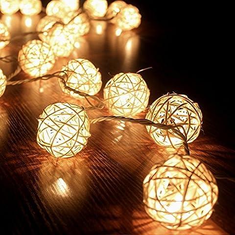 Eng 3m Tormenta Cremeweiß 20pelota de ratán cadena de luces String Lights–Ideal para Bodas, Navidad, fiesta, decoración de hogar cream