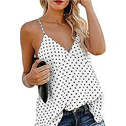 Ropa Mujer Camisola de Moda Verano Casual sin Manga Estampado de Lunares con Botones, Camisa, Camiseta, Chaleco y Blusa De 2019 Moda Casual Primavera y Verano para Mujeres