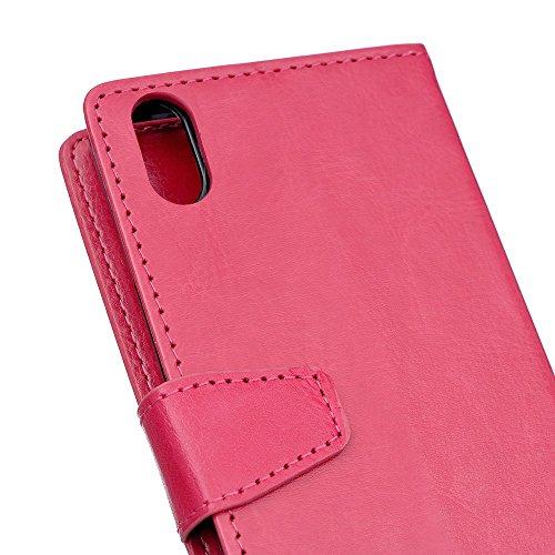 Crytal Grain Texture Solid Color Premium PU Leder Folio Stand Case Geldbörse Tasche Tasche mit Card Slots für iPhone X ( Color : Rose ) Rose