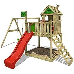 FATMOOSE Tour d'escalade sur pilotis RockyRanch Roll XXL Aire de jeu pour enfants avec toboggan, balançoire, grand bac à sable et cabane sur plateforme, toboggan rouge