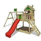 FATMOOSE Stelzenhaus RockyRanch Roll XXL Kletterturm für Kinder Spielturm mit Rutsche, Schaukel, großem Sandkasten und Spielhaus auf Podest, rote Rutsche