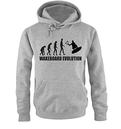 Comedy Shirts WAKEBOARD EVOLUTION -Herren Hoodie in Grau/Schwarz Gr. S