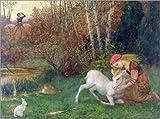 Posterlounge Alu Dibond 160 x 120 cm: der weiße Hirsch, c.1870 von Arthur Hughes/Bridgeman Images