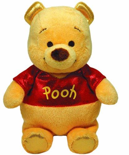 TY 41074 - Disney - Pooh Glitter mit Sound, glitzernde Kleidung, 20 cm