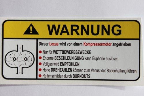 lexus-supercharger-type-ii-german-lustig-warnung-aufkleber-decal-sticker