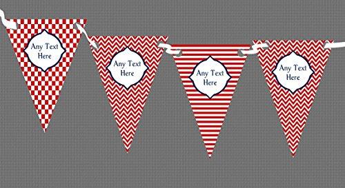 Colore: Rosso/Bianco a strisce & personalizzabile, motivo a scacchi, per bambini, per feste di compleanno, (Bianco Festone)