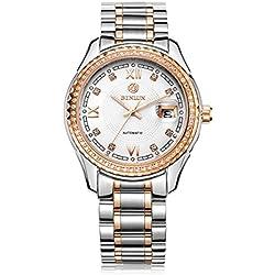 binlun Herren 2Tone Armbanduhr Japanische Mechaniker Automatik Handgelenk watch- Rose Gold