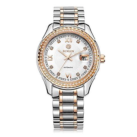 Binlun Hommes Gros Blanc Cadran Formal Or rose Mecanique Diamant Acier Inoxydable Montre lumineuse avec Date