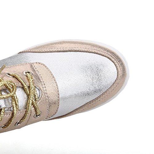 AgooLar Damen Inner Hohe Absatz Zweifarbig Rund Zehe Reißverschluss Stiefel Golden
