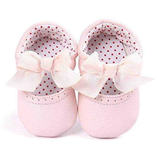 FEITONG Baby Bowknot Leder Schuhe Sneaker Anti-Rutsch Soft Sole Kleinkind (11, Rosa) Rosa